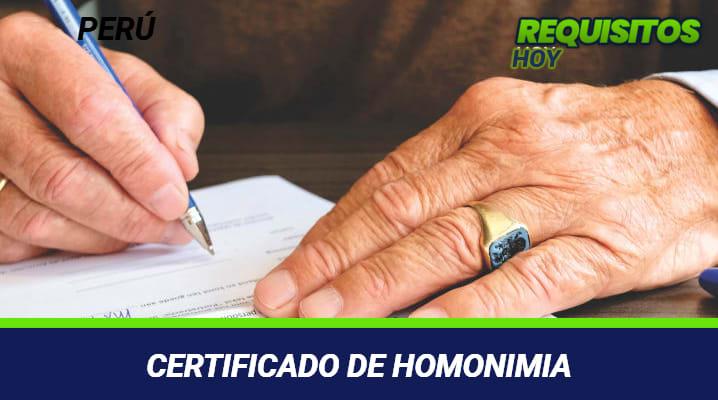 Certificado de Homonimia