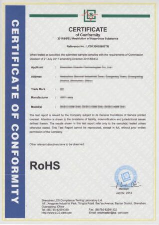 Certificado RoHs modelo
