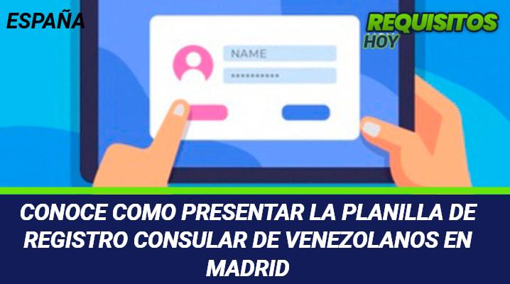 Planilla de registro consular de venezolanos en Madrid