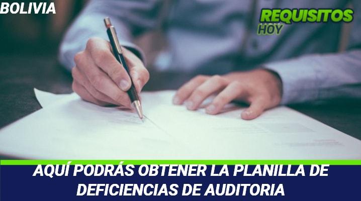 Planilla de deficiencias de auditoria