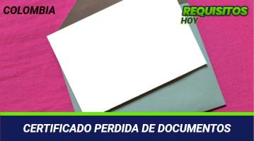 Certificado pérdida de documentos