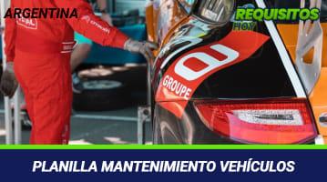 Planilla mantenimiento vehículos